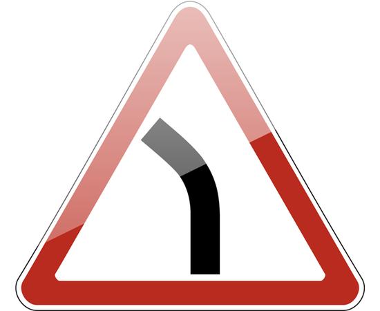 дорожный знак 1.11.2  Опасный поворот (левый), фото 1