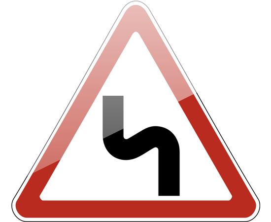 дорожный знак 1.12.2  Опасные повороты (с первым поворотом налево), фото 1