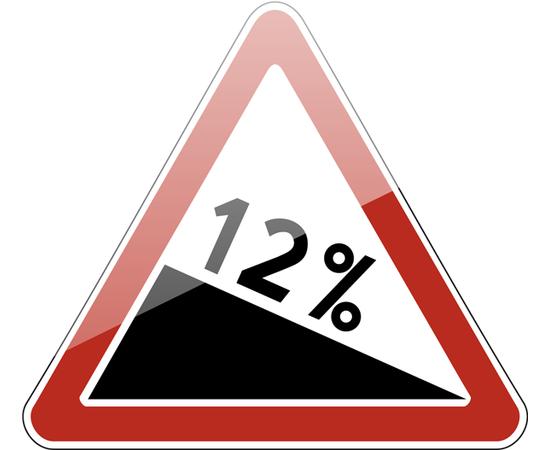 дорожный знак 1.13  Крутой спуск, фото 1