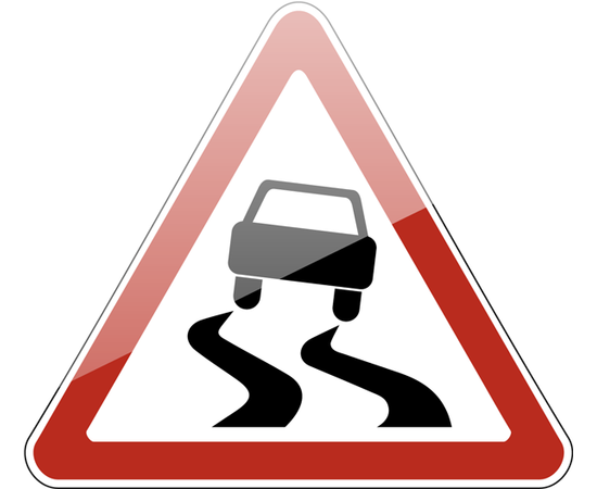 дорожный знак 1.15  Скользкая дорога, фото 1