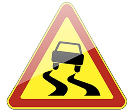 дорожный знак 1.15  Скользкая дорога  (желтый фон), фото 1