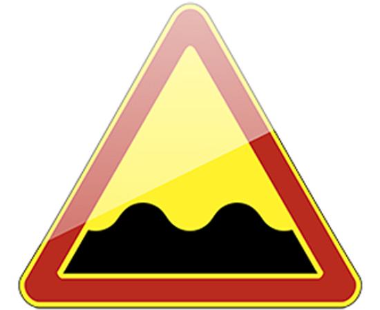дорожный знак 1.16  Неровная дорога  (желтый фон), фото 1