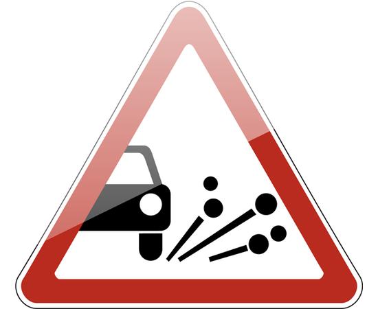 дорожный знак 1.18  Выброс гравия, фото 1