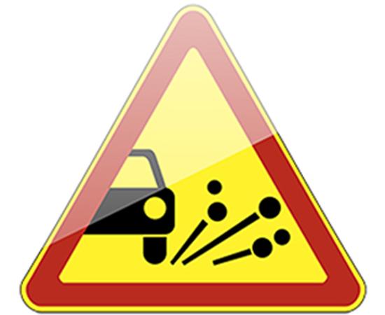 дорожный знак 1.18  Выброс гравия  (желтый фон), фото 1