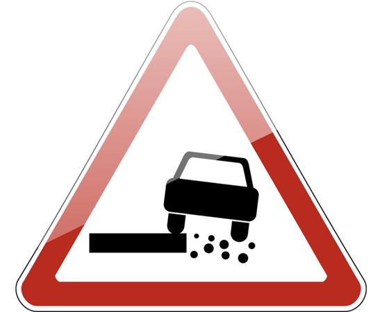 дорожный знак 1.19  Опасная обочина, фото 1