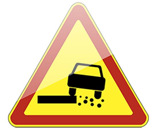 Знак 1.19 Опасная обочина (желтый фон), фото 1