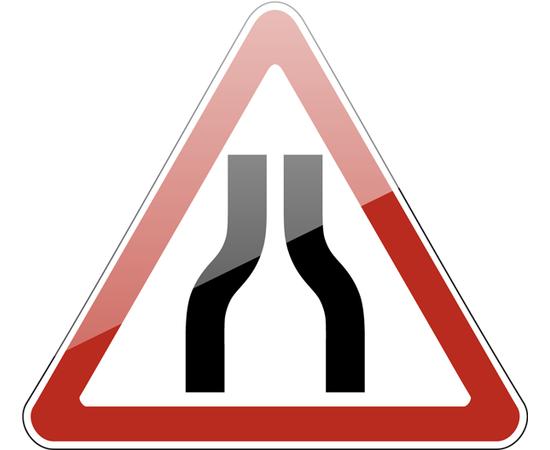 дорожный знак 1.20.1  Сужение дороги, фото 1