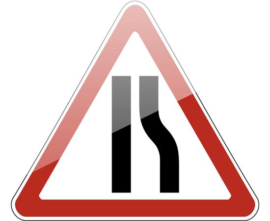дорожный знак 1.20.2  Сужение дороги  (справа), фото 1