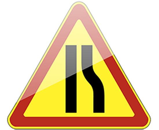 дорожный знак 1.20.2 Сужение дороги  (справа) желтый фон, фото 1