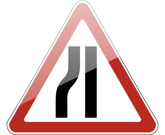 дорожный знак 1.20.3 Сужение дороги (слева), фото 1