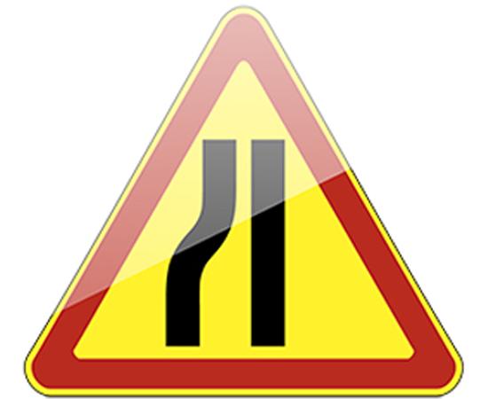 дорожный знак 1.20.3 Сужение дороги (слева) желтый фон, фото 1