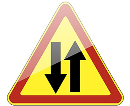 дорожный знак 1.21  Двустороннее движение  (желтый фон), фото 1