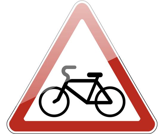 дорожный знак 1.24  Пересечение с велосипедной дорожкой или велопешеходной дорожкой, фото 1