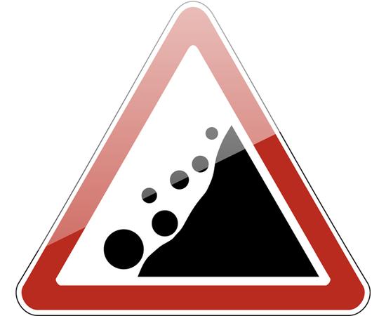 дорожный знак 1.28  Падение камней, фото 1
