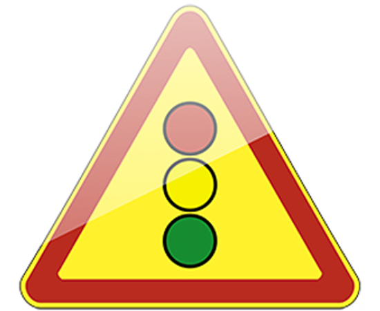 дорожный знак 1.8  Светофорное регулирование  (желтый фон), фото 1