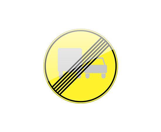 дорожный знак 3.23 Конец зоны запрещения обгона грузовым автомобилям (желтый фон), фото 1