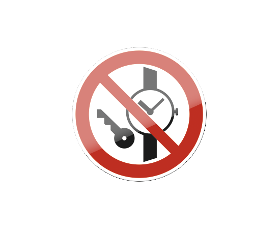 знак P 27 Запрещается иметь при (на) себе металлические предметы (часы и т.п.), фото 1