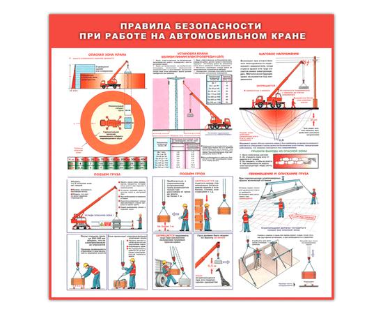 Щит информационный Правила безопасности при работе на автомобильном кране, фото 1