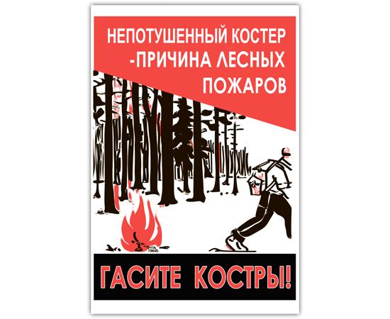 Аншлаг противопожарный Непотушенный костер-причина пожаров!  тип 11, фото 1