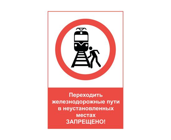 Знак Переходить ж_д пути в неустановленных местах запрещено!, фото 1